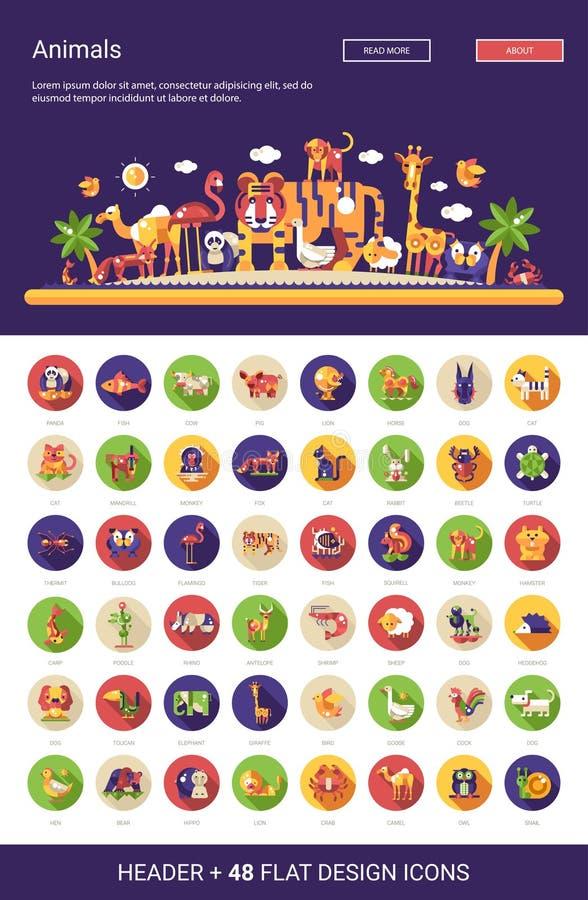 De vlakke pictogrammen van ontwerp wilde die en huisdieren met kopbal worden geplaatst royalty-vrije illustratie