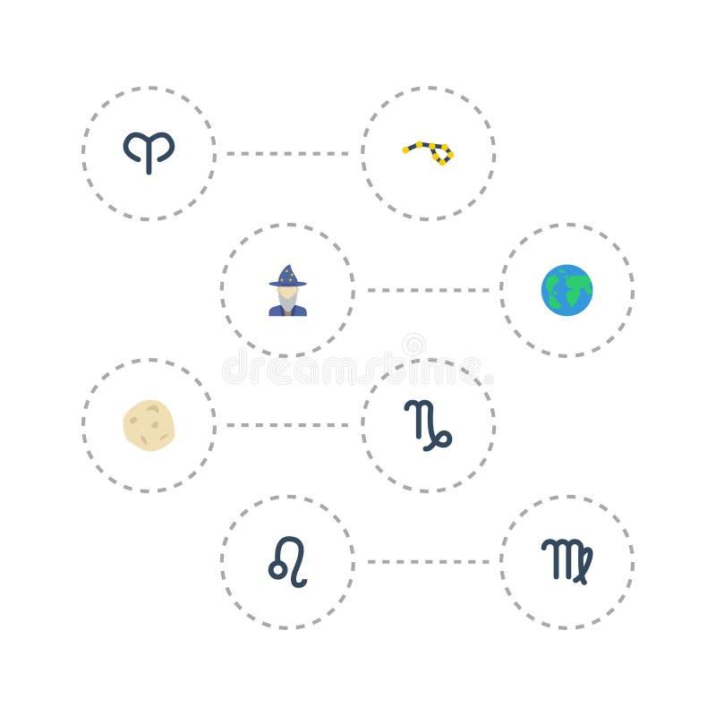 De vlakke Pictogrammenleeuw, voorspelt, Aardeplaneet en Andere Vectorelementen De reeks Symbolen van Melkweg Vlakke Pictogrammen  royalty-vrije illustratie