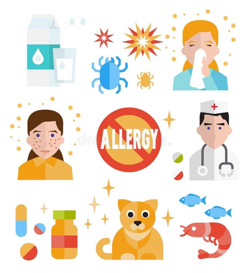 De vlakke reeks geïsoleerde vector van het allergiepictogram royalty-vrije illustratie