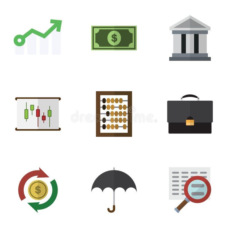 De vlakke Reeks van de Pictogramaanwinst Portefeuille, Parasol, Teller en Andere Vectorvoorwerpen Omvat ook Dollar, Portefeuille, vector illustratie