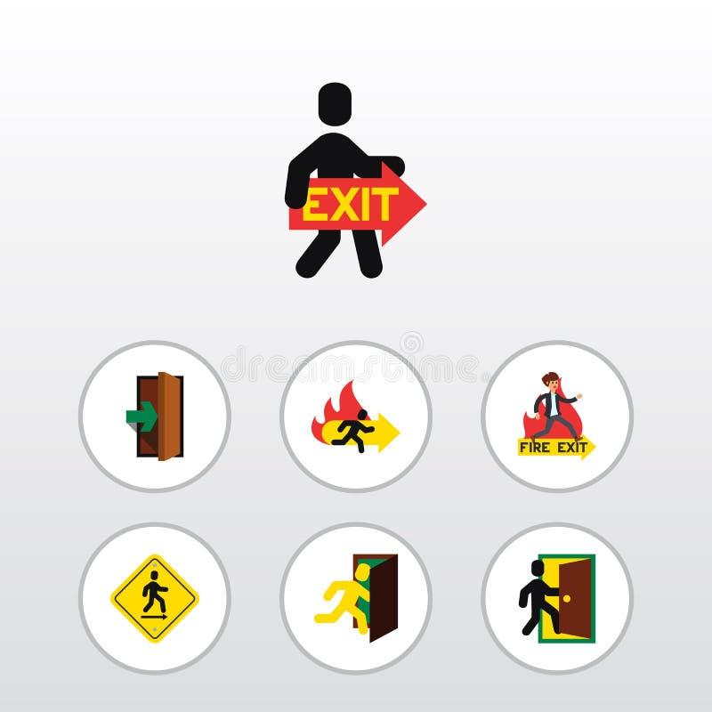 De vlakke Reeks van de Pictogramdeur Open Deur, Noodsituatie, Evacuatie en Andere Vectorvoorwerpen Omvat ook Evacuatie, Raad, Bra vector illustratie