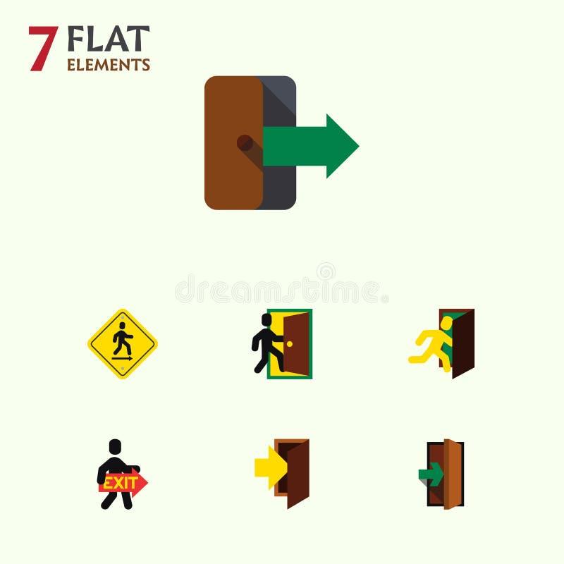 De vlakke Reeks van de Pictogramdeur Richtingswijzer, Richting, Evacuatie en Andere Vectorvoorwerpen Omvat ook Richting stock illustratie