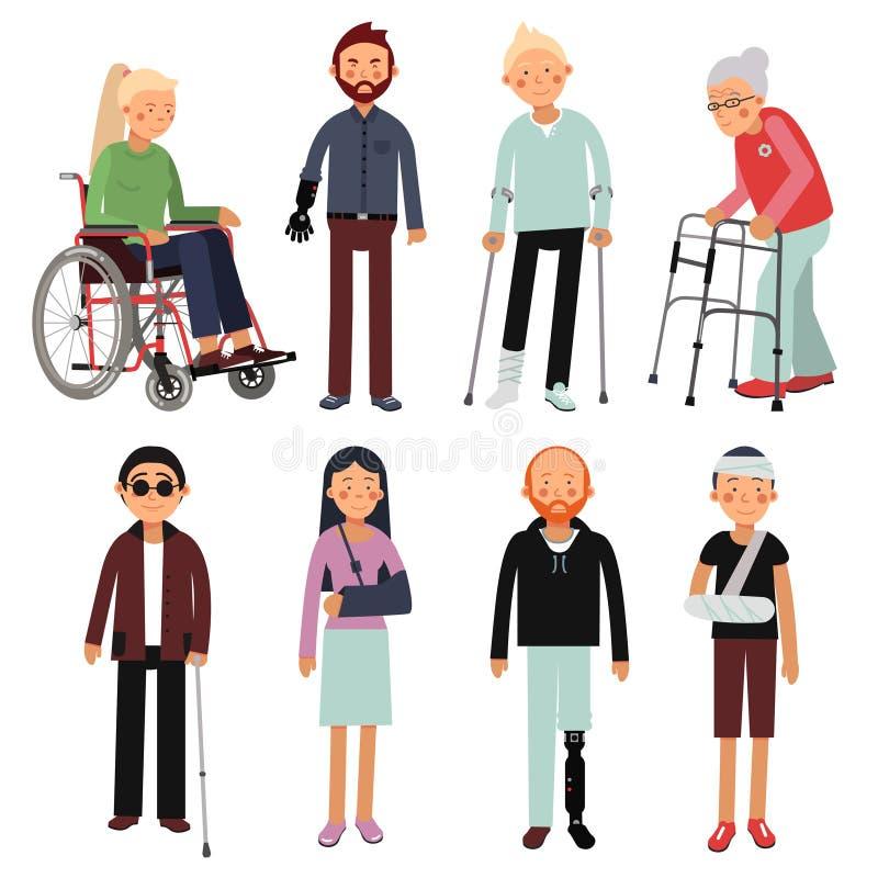 De vlakke reeks van de stijlillustratie gehandicapten in verschillend stelt Vectorbeelden van geïsoleerde het ziekenhuispatiënten vector illustratie