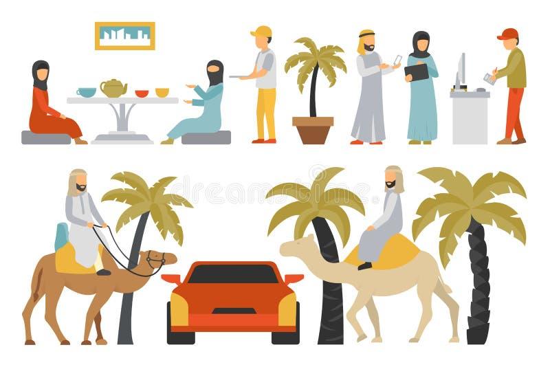 De vlakke reeks van Doubai Geïsoleerd op Witte Achtergrond, Mensen Vectorillustratie vector illustratie