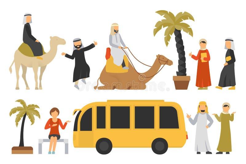 De vlakke reeks van Doubai Voor Witte Achtergrond, Mensen Vectorillustratie royalty-vrije illustratie