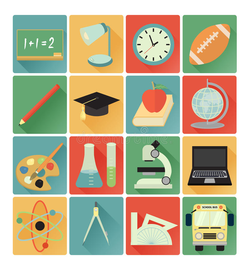De vlakke reeks van het pictogrammenonderwijs stock illustratie