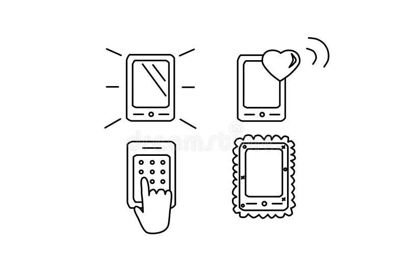 De vlakke reeks van het telefoonpictogram Het symbool van de celtelefoon Sociaal media smartphone vectorteken Moderne zwarte illu royalty-vrije illustratie