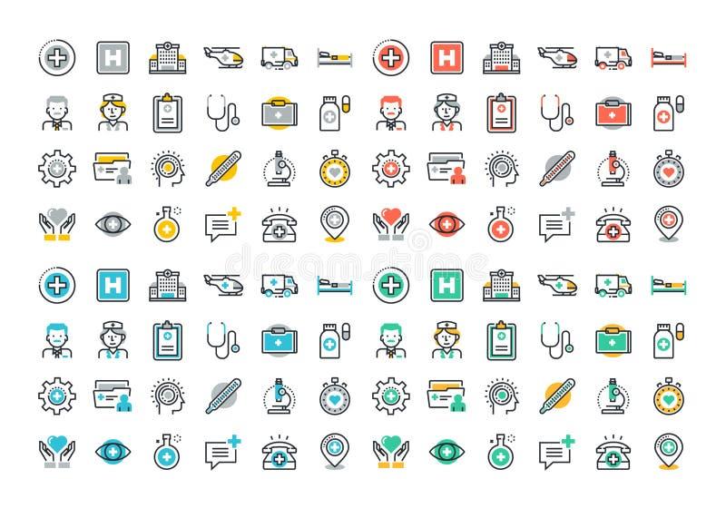 De vlakke reeks van lijn kleurrijke pictogrammen van gezondheidszorg en geneeskunde vector illustratie