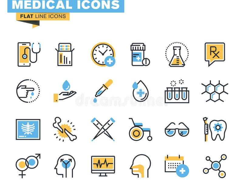 De vlakke reeks van lijnpictogrammen medische uitrustingen royalty-vrije illustratie