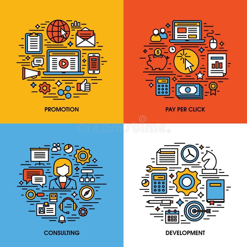 De vlakke reeks van lijnpictogrammen van bevordering, betaalt per klik, raadplegend, dev stock illustratie