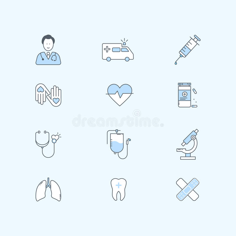 De vlakke reeks van lijnpictogrammen van gezondheidszorg, geneeskunde en medische apparatuur stock illustratie