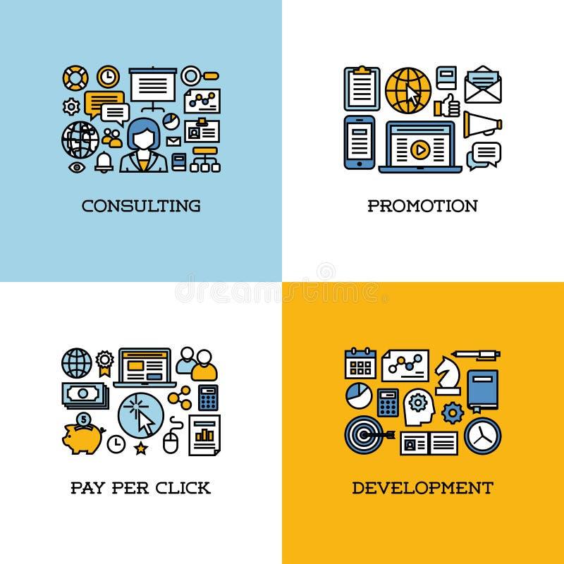De vlakke reeks van lijnpictogrammen van het raadplegen, bevordering, betaalt per klik vector illustratie