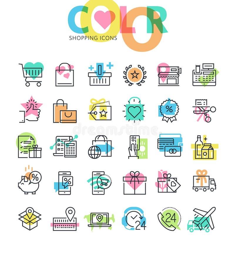 De vlakke reeks van lijnpictogrammen van het winkelen stock illustratie