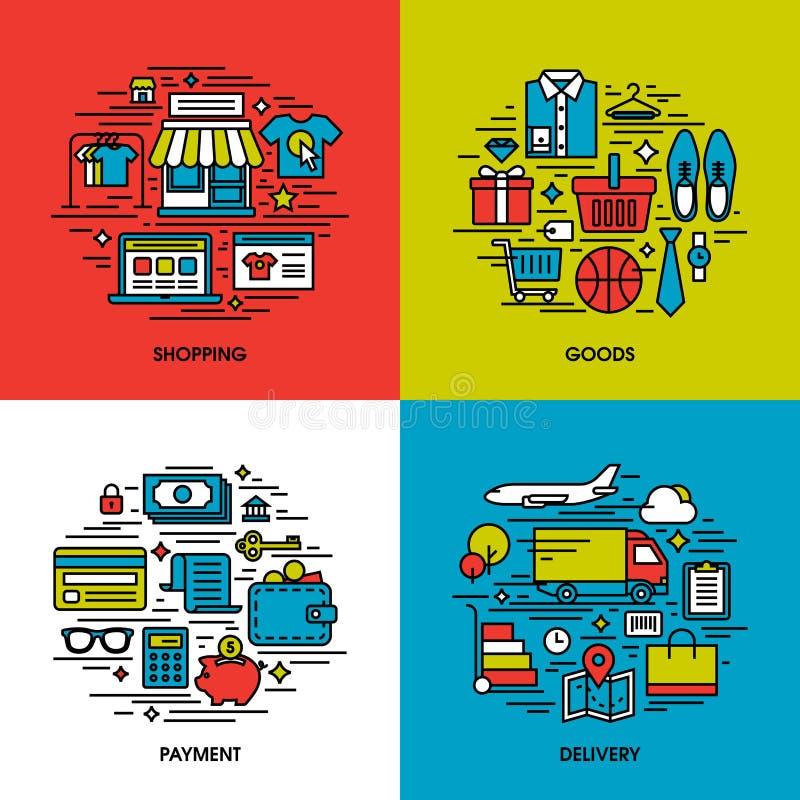 De vlakke reeks van lijnpictogrammen van het winkelen, goederen, betaling, levering royalty-vrije illustratie