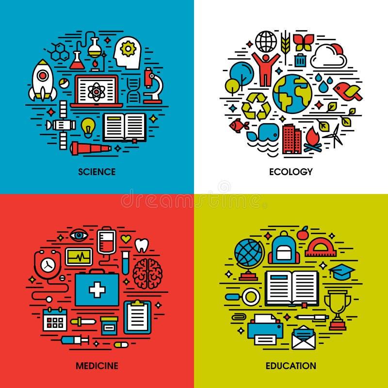 De vlakke reeks van lijnpictogrammen van wetenschap, ecologie, geneeskunde, onderwijs vector illustratie