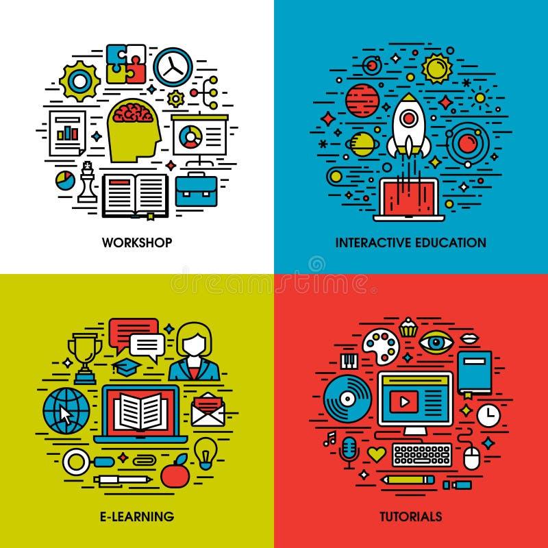 De vlakke reeks van lijnpictogrammen van workshop, onderwijs, e-leert, leerprogramma's vector illustratie