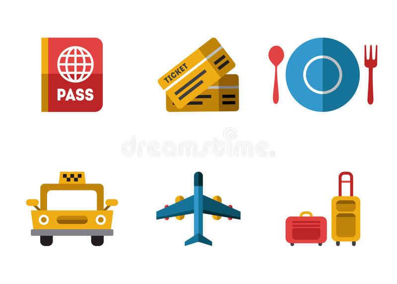 De vlakke reeks van luchthavenpictogrammen vector illustratie