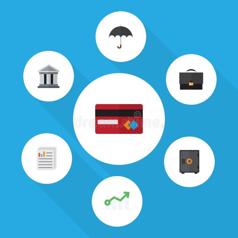 De vlakke Reeks van Pictogramfinanciën Brandkast, Document, de Groei en Andere Vectorvoorwerpen Omvat ook Bank, Mastercard, Parap vector illustratie