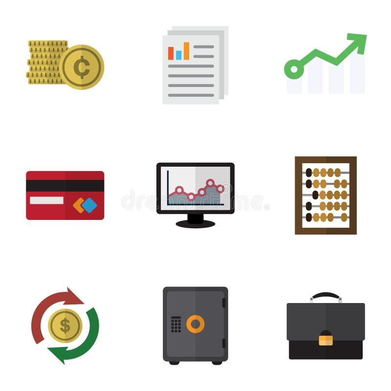 De vlakke Reeks van Pictogramfinanciën de Groei, Grafiek, Portefeuille en Andere Vectorvoorwerpen Omvat ook Mastercard, Dossier,  vector illustratie
