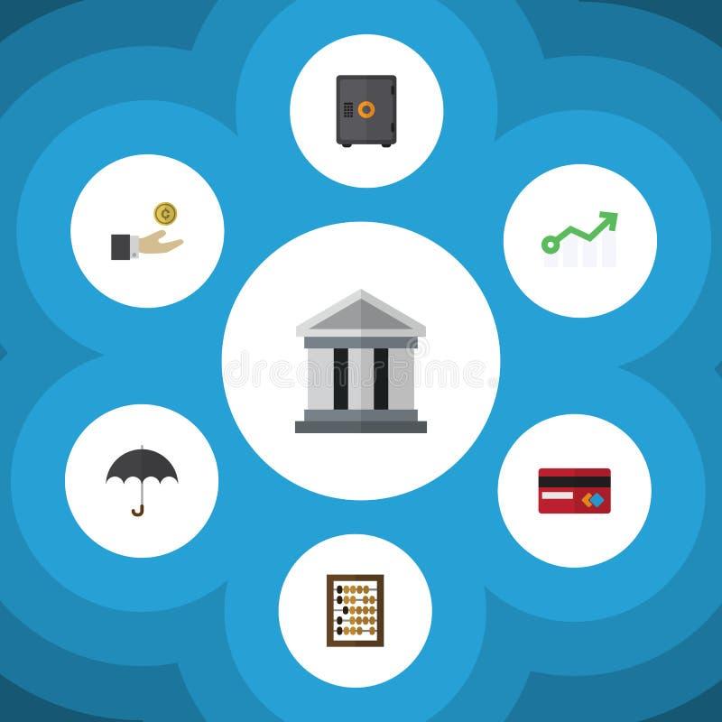 De vlakke Reeks van Pictogramfinanciën de Groei, Teller, Betaling en Andere Vectorvoorwerpen Omvat ook Telraam, Geld, Paraplu vector illustratie