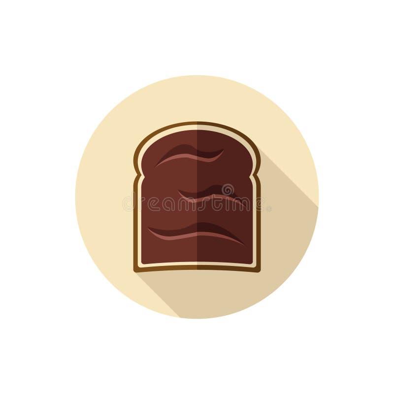 De vlakke Room van de ontwerpchocolade op een Plak van Toost stock illustratie