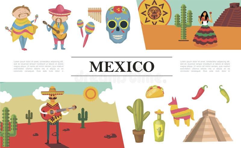 De vlakke Samenstelling van Mexico stock illustratie