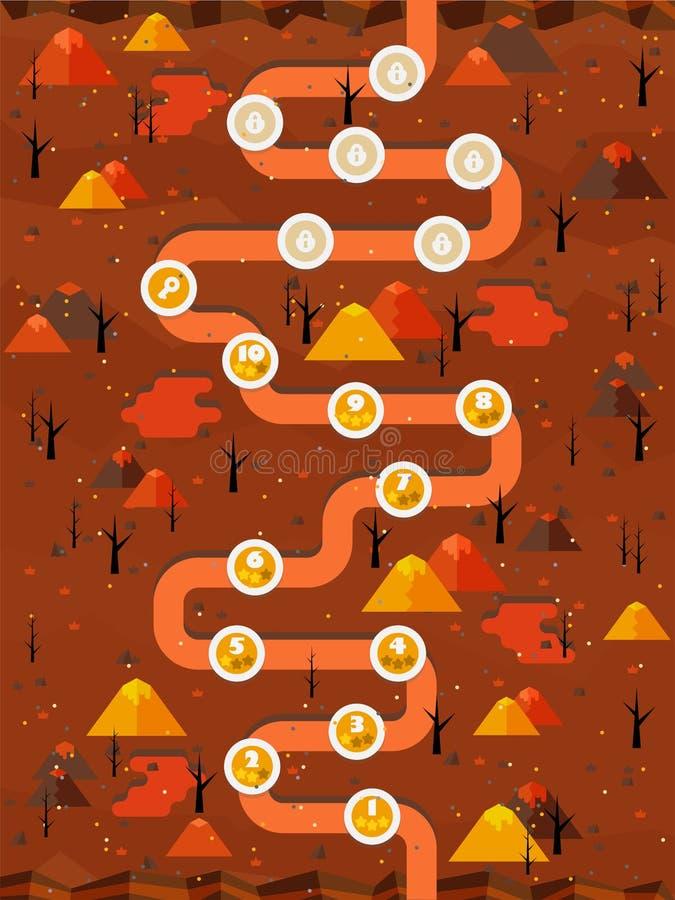 De vlakke scène van de brandlava GUI stock illustratie