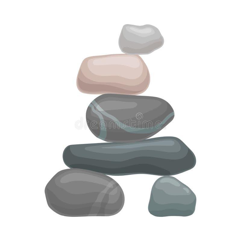De vlakke steen ligt op twee kleine degenen Vector illustratie op witte achtergrond royalty-vrije illustratie