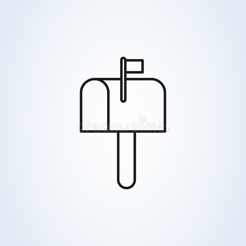 De vlakke stijl van het brievenbussymbool Vectordie de illustratiepictogram van de lijnkunst op witte achtergrond wordt geïsoleer royalty-vrije illustratie