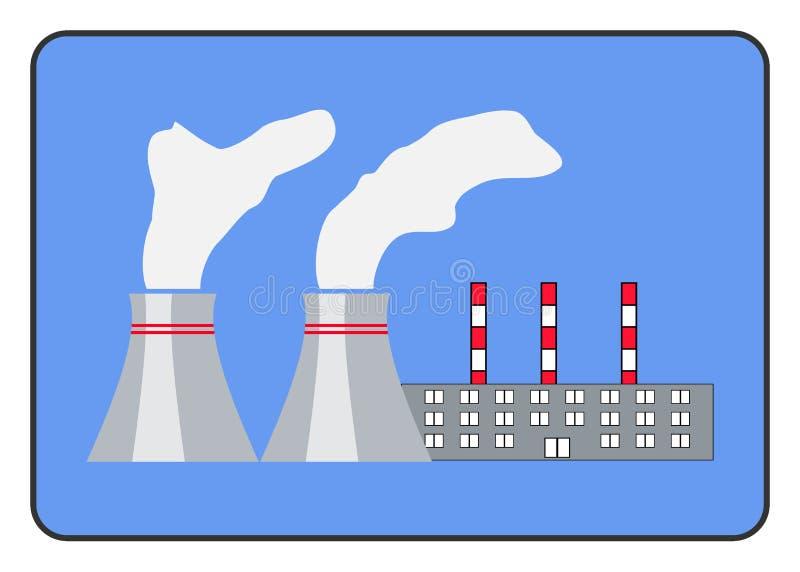 De vlakke stijl van het elektrische centralepictogram in het kader stock illustratie