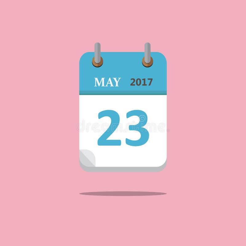 De vlakke stijl van het kalenderpictogram op roze achtergrond Vector Illustratie royalty-vrije illustratie