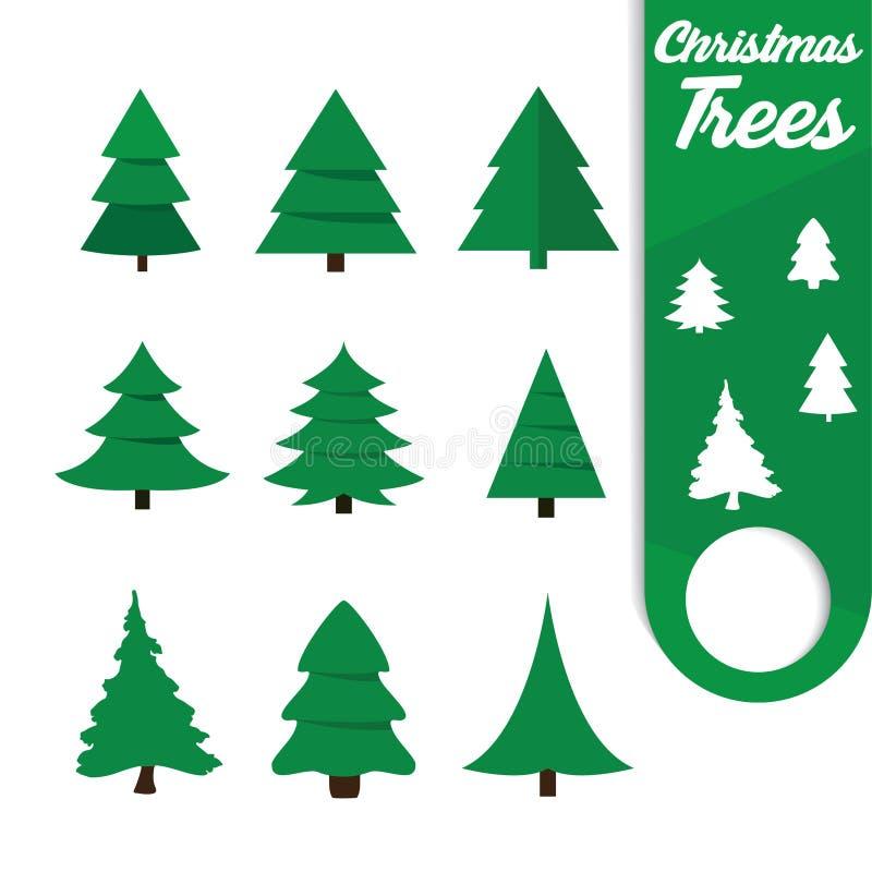 De vlakke stijl van kerstboompictogrammen stock foto's