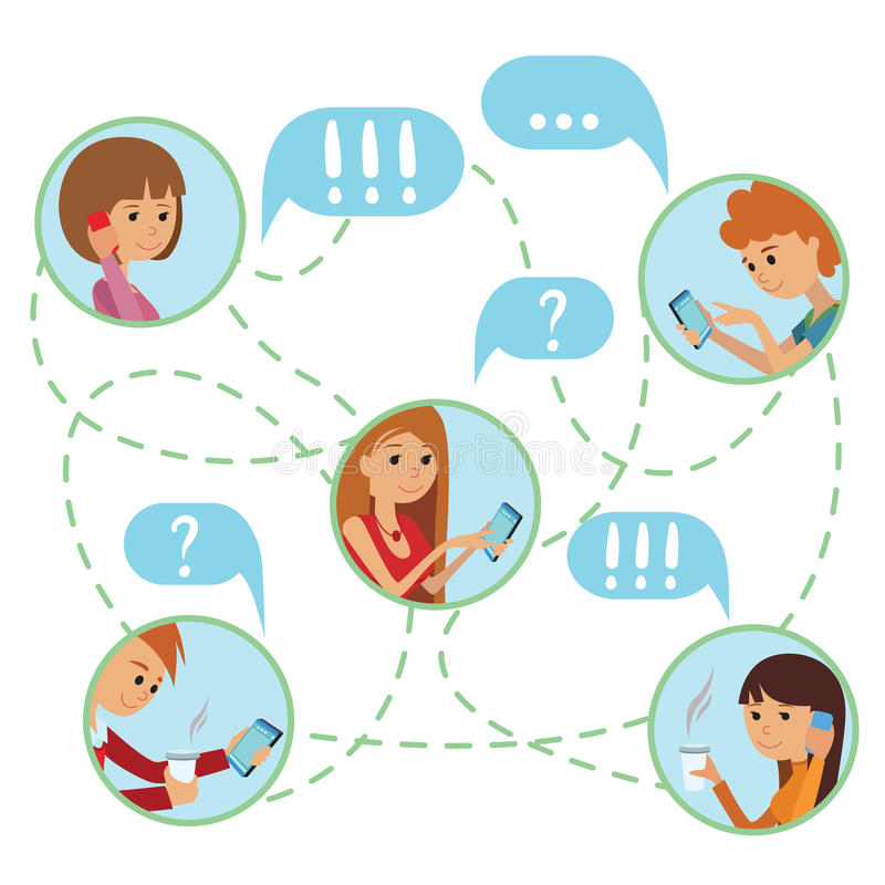 De vlakke stijljongeren ziet online sociale media communicatie infographic concepten vectorreeks onder ogen Man vrouw met lapto v royalty-vrije illustratie