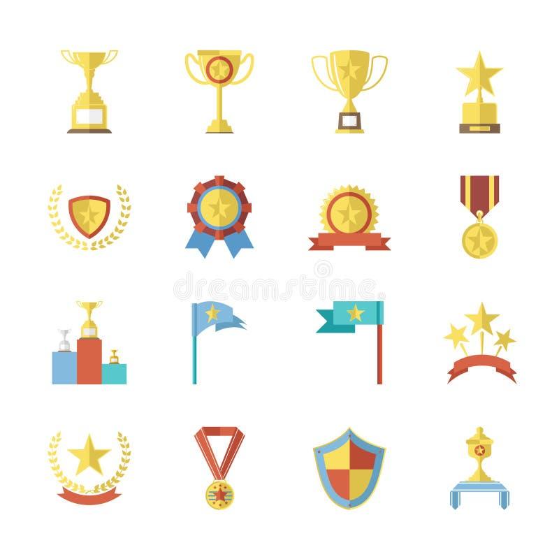De vlakke Symbolen van de Ontwerptoekenning en Trofeepictogrammen Geplaatst Geïsoleerde Vectorillustratie royalty-vrije illustratie