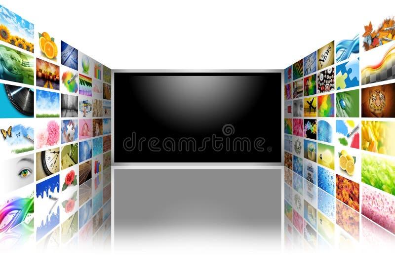 De vlakke Televisie van het Scherm met Beelden op Wit vector illustratie