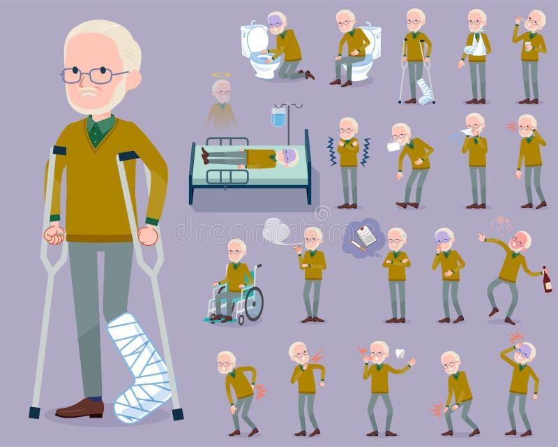 De vlakke type Gele Oker breit de oude mens White_sickness vector illustratie