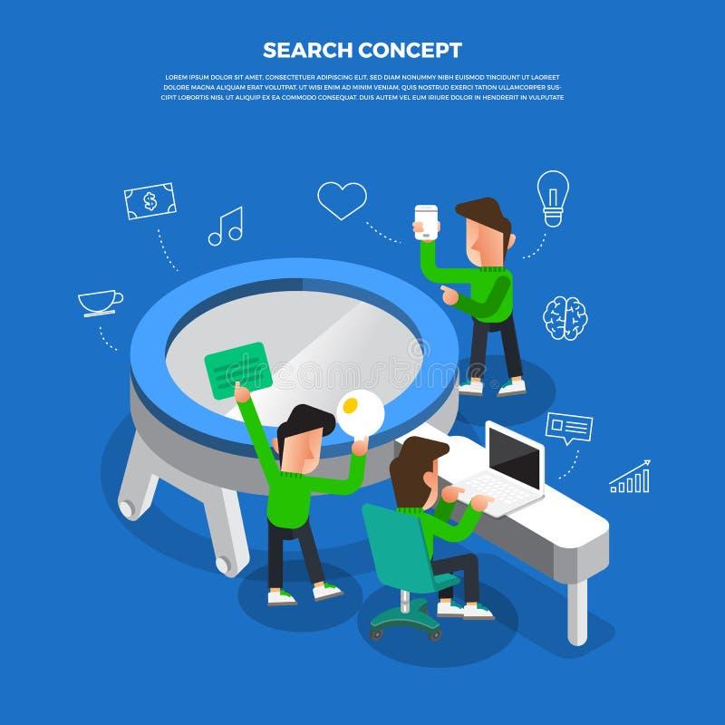 """De vlakke uitwisseling van ideeën die van het ontwerpconcept aan Desktoppictogram """"Search werken royalty-vrije illustratie"""