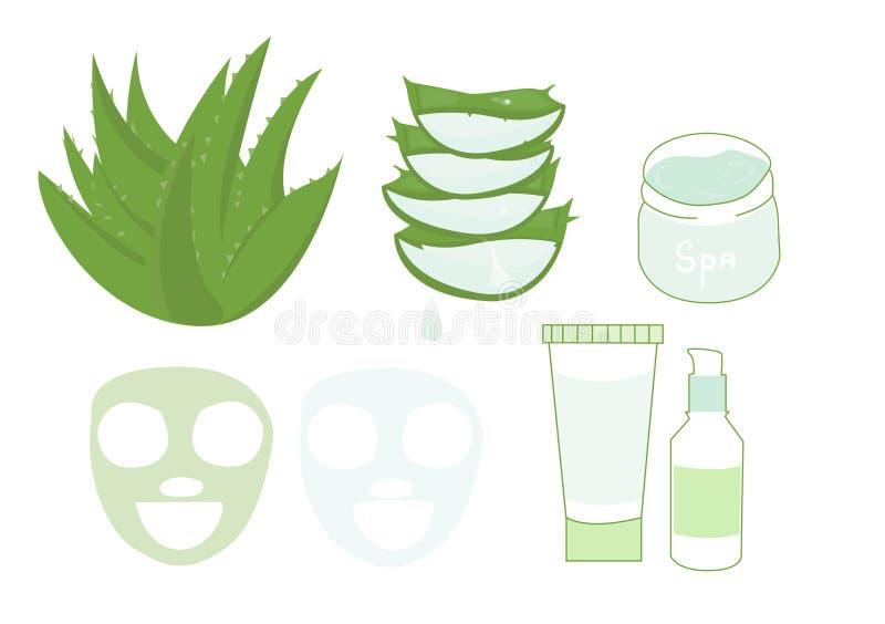 De vlakke vector geplaatste pictogrammen van aloëvera, grote die reeks van ontwerpgezondheidszorg en de kosmetiekvoorwerpen op de stock illustratie