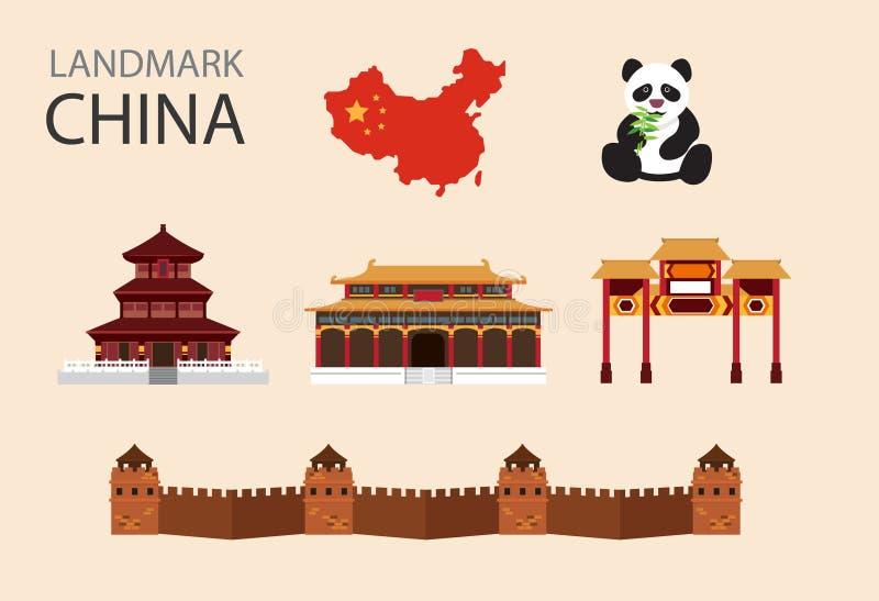 De vlakke vector geplaatste pictogrammen van China stock illustratie
