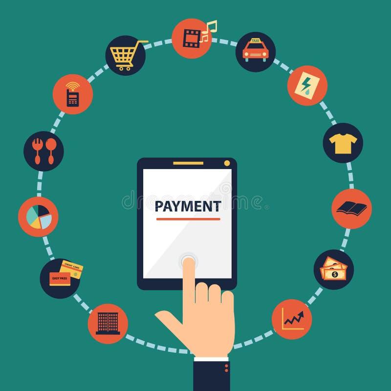 De vlakke vector van de ontwerphand voor mobiel betalingsconcept stock illustratie