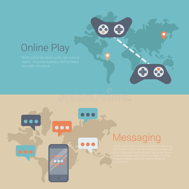 De vlakke vector van het de banner online gokken van de websiteschuif kaart van de het spelwereld stock illustratie
