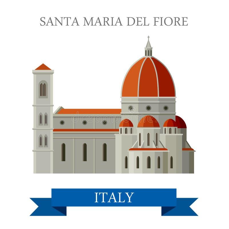 De vlakke vectoraantrekkelijkheid van Santa Maria del Fiore Florence Italy vector illustratie
