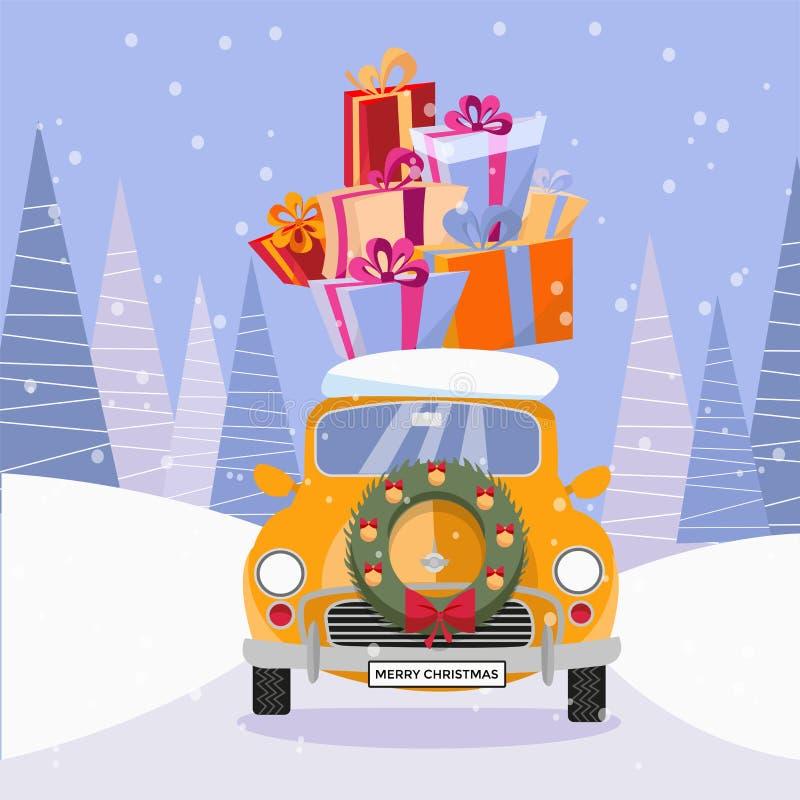 De vlakke vectorbeeldverhaalillustratie van retro auto met stelt en Kerstmisboom op de bovenkant voor Weinig klassieke gele auto  royalty-vrije illustratie