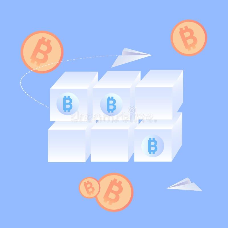 De Vlakke Vectorillustratie van de Blockchaintechnologie stock illustratie