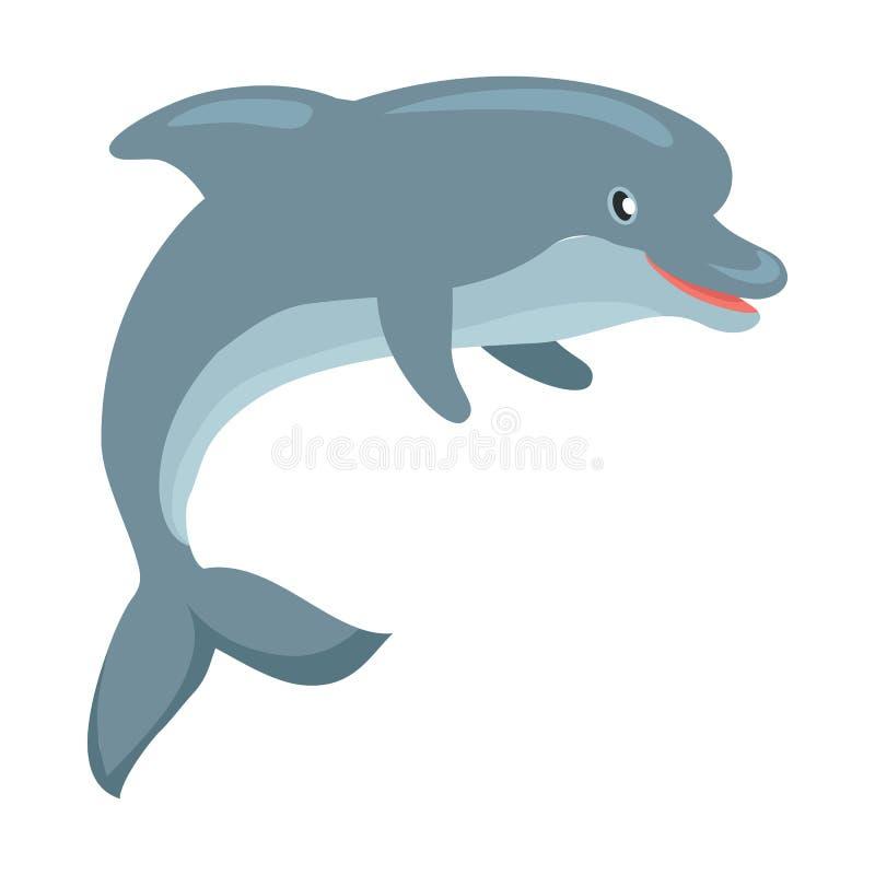 De Vlakke Vectorillustratie van het dolfijnbeeldverhaal royalty-vrije illustratie