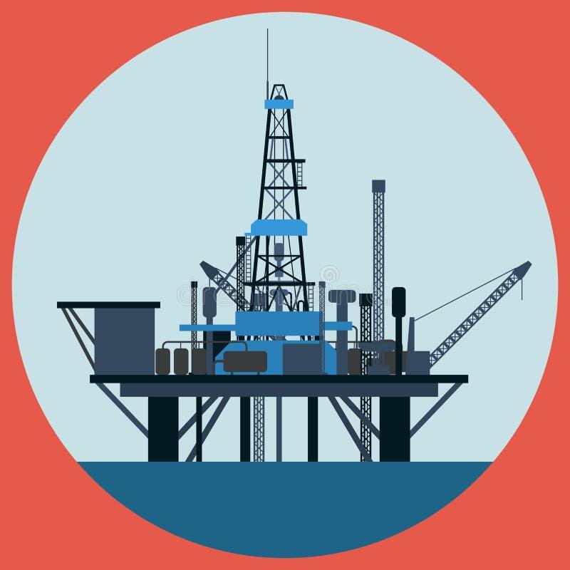 De vlakke vectorillustratie van het olieplatform royalty-vrije illustratie
