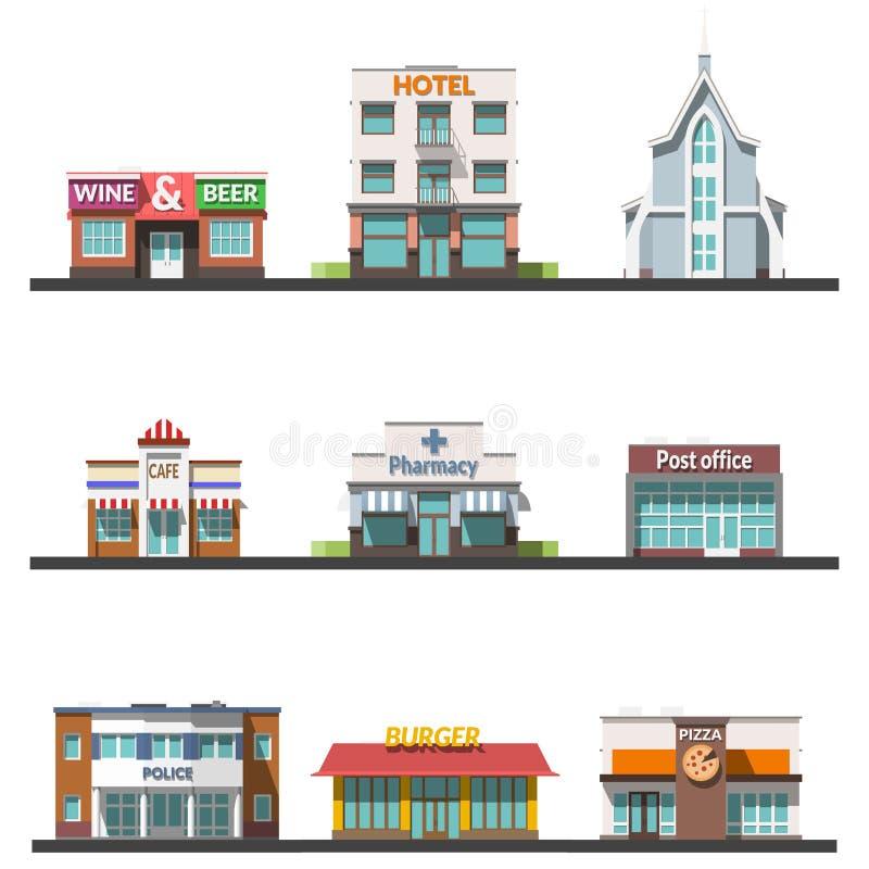 De vlakke vectorillustratie van het ontwerp stedelijke landschap stock illustratie