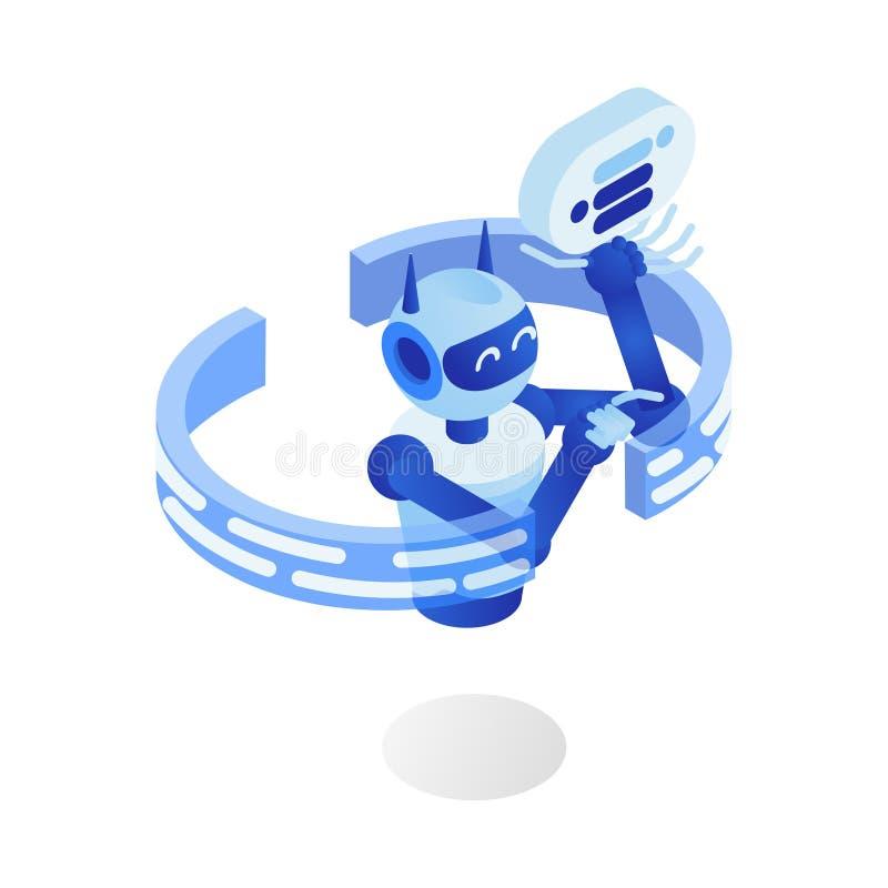 De vlakke vectorillustratie van Internet bot Futuristisch robotprogramma, virtuele medewerker, chatbot, 3d beeldverhaalkarakter royalty-vrije illustratie