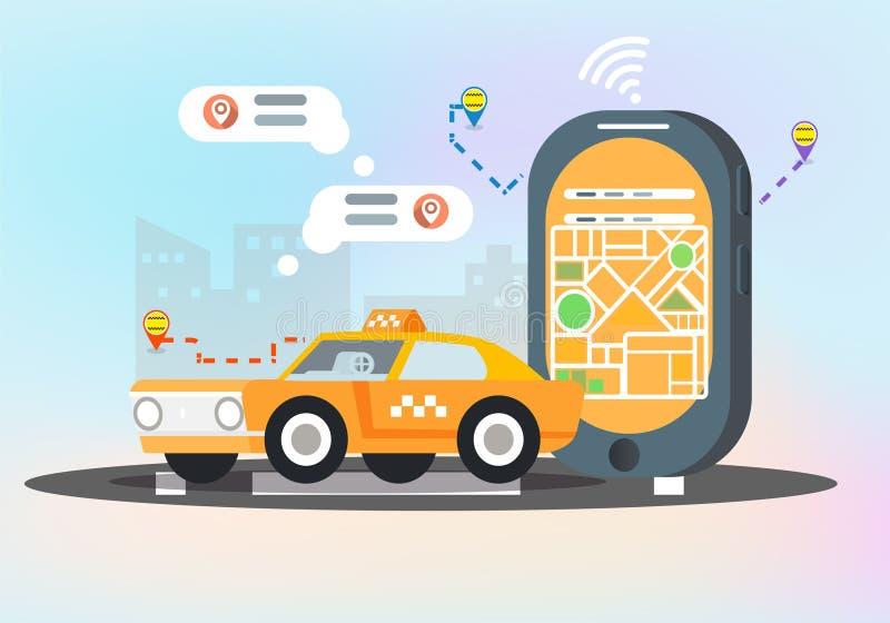 De vlakke vectorillustratie van de taxidienst royalty-vrije illustratie
