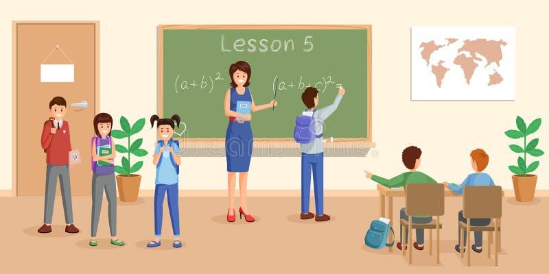 De vlakke vectorillustratie van de wiskundeles Vrolijke leraar die bij bord wiskunde verklaren aan leerlingenbeeldverhaal royalty-vrije illustratie